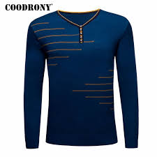 <b>COODRONY</b> Sweater Men Casual <b>Long Sleeve</b> Shirt Button V-neck ...