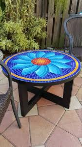 Handmade table, glass tile top, aluminum legs painted with <b>powder</b> ...
