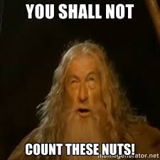 you shall not count these nuts! - Gandalf You Shall Not Pass ... via Relatably.com