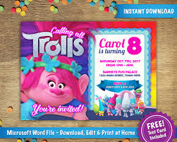 trolls invitations diy printable 5x7 trolls poppy birthday party invitation template tent card included instant microsoft word
