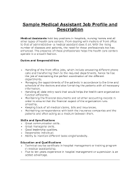 sample resume for medical assistant job description medical assistant job description medical assistant resume job duties