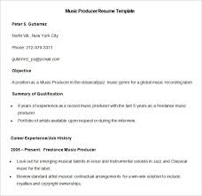 media resume template –    free samples  examples  format    sample music producer resume template