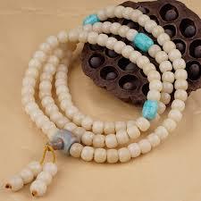 Bodhi <b>Seed Bead Necklace</b> Mala Tibetan Buddhist White Bodhi ...