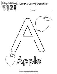Free Kindergarten Alphabet Worksheets - Learning the basics.Letter A Coloring Worksheet