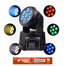 remote control 7led dmx512 multicolor rotating moving head stage light effect sound activated projector disco ktv party dj
