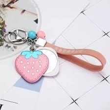 <b>New fashion creative</b> strawberry mirror keychain Cute lollipop car ...