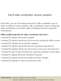 top m e coordinator resume samples