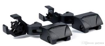 <b>Tactical 45 Degree</b> Offset <b>Foldable</b> Back Up Iron Sight Set Front ...