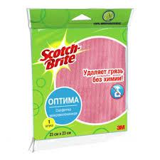 Микроволоконная <b>салфетка Scotch-Brite</b>, <b>Оптима</b>, 23х23 см, 1 шт ...