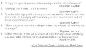 Best Man Speech Jokes - Jokes, Quotes and One Liners for the Best Man