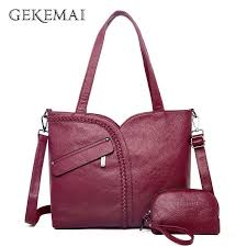 Luxury Women Genuine Leather Knitting Shoulder <b>Bags 2 Sets</b> ...
