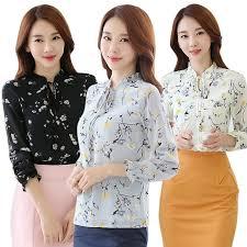 MYQUEEN <b>Elegant</b> Ladies <b>Chiffon</b> Long Sleeve <b>Shirts</b> Casual Print ...