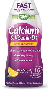 Natures Way <b>Calcium</b> & <b>Vitamin D3 Liquid</b> Dietary Supplement ...