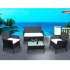 rattan <b>garden</b> furniture set <b>4 piece</b> chairs sofa table outdoor patio set