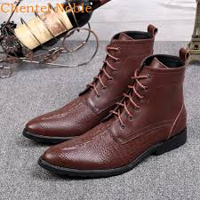 2020 British Fashion Chentel Leather Ankle Boots <b>Men Pointed Toe</b> ...