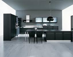 shaped black modern kitchen