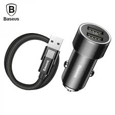 Wholesale <b>Baseus Small</b> Screw 3.4A Dual-USB Car Charger set ...