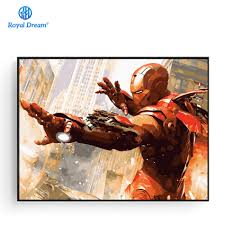 Iron Man <b>DIY Oil Painting By</b> Numbers Kit Coloring Painting By ...