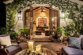 covered patio lighting mediterranean