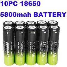 2 Packs Button Top <b>Batteries High</b>-Capacity 3.7V 7800mAH <b>18650</b> ...