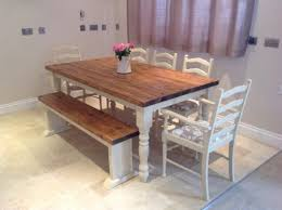 chair dining room tables rustic chairs: shabby chic rustic farmhouse solid  seater dining table bench and  oak chairs love