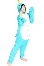 dressfan Animal <b>Cosplay Costume</b> Narwhal Pajamas <b>Adult Kids</b> ...