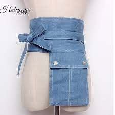 <b>HATCYGGO</b> Denim Wide Corset Jeans Women Belts With Pocket ...