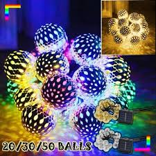 20/30/50 <b>Balls</b> Solar <b>String Lights Moroccan</b> Metal <b>Ball</b> Outdoor ...
