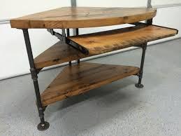 reclaimed wood corner table desk solid oak w black iron pipe legs black iron pipe table