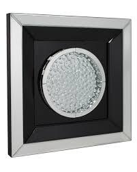 mirror wall decor circle panel: astoria floating crystal black circle mirror wall art