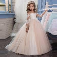 2017 <b>Romantic</b> Champagne <b>Puffy Lace</b> Flower Girl Dress for ...