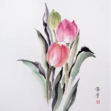 Картина в <b>раме Тюльпаны</b> 32x32 японская живопись суми-э ...