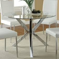 metal dining room chairs chrome:  round glass top dining table the clean lines and modern look of the vance collection features a bold chrome leg base and tempered glass top