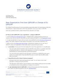 <b>New</b> Organization First User QPPV/RP or Change of EU QPPV/RP