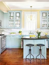 blue kitchen cabinets small painting color ideas: creative muse inspiration for your cabinet color could be close at hand these existing cabinets earned a fresh start with a blue green finish inspired by