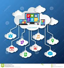 mobile services cloud paper stock vector image  mobile services cloud paper
