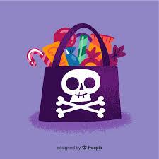 Черная пиратская сумка-<b>череп с конфетами</b> | Бесплатно векторы