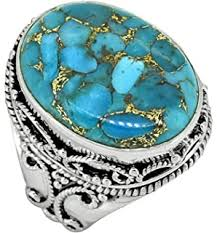 Copper Blue Turquoise <b>Women Jewelry 925</b> Sterling Silver Ring ...