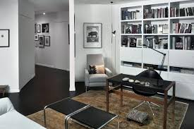 white home office with black furniture design black and white office design