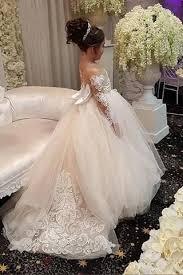 <b>Ball</b> Gown Round Neck <b>Light Champagne</b> Tulle Bowknot Flower Girl ...