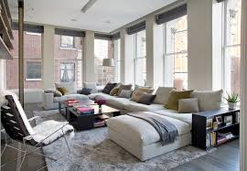bond street loft contemporary family room idea in new york with white walls sofas cado modern furniture modern sofa