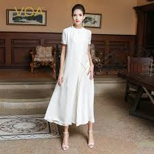 <b>VOA 2017 Autumn</b> Brief Plus Size Pure White Ladies Silk A Line ...