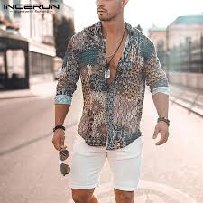 Printing Men Shirt Ethnic Style <b>V Neck Long Sleeve</b> Breathable ...