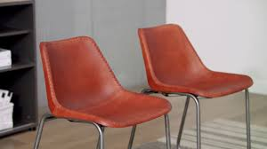 vidaXL <b>Dining Chairs 2 pcs</b> Genuine Leather Brown - YouTube