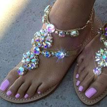 Gladiator Sandals <b>Women Flat Rhinestone Crystal</b>