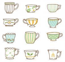 Hand drawn <b>vintage</b> tea <b>cups set</b> Vector | Premium Download