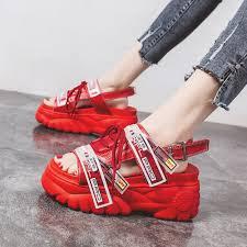Lucy Ever <b>2019 Summer Women Sandals</b> Thick Bottom Wedge ...
