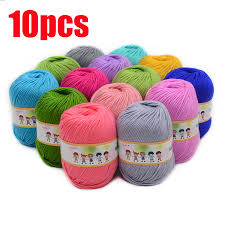 10pcs <b>Hot Sale</b> Multi Color <b>Cotton</b> Silk Knitting Yarn Soft Warm Baby ...