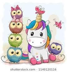 <b>Cute Cartoon</b> Unicorn and <b>Owls</b> on a blue background ...