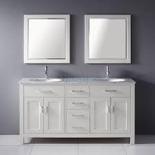 55 inch double sink bathroom vanity:  inch double sink bathroom vanity with marble top in white